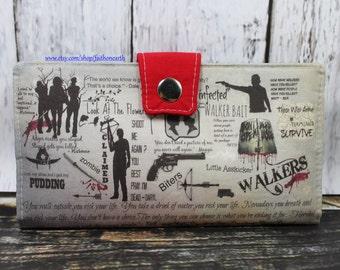 TWD Handmade Long fandom geek Wallet - Vegan Wallet -  Walking Dead Wallet or half size unisex wallet