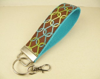 Key Fob Key Chain/Wristlet-with Swivel Hook--STITCHES in turquoise green and brown