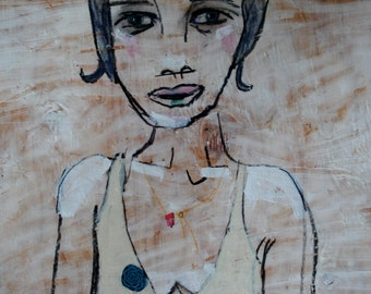 outsider EMERY orig painting 'she holds her thoughts close'