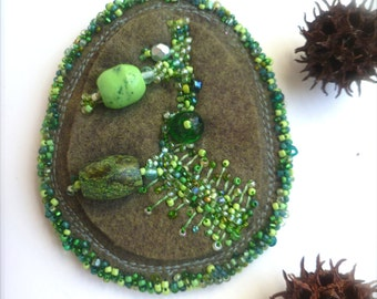 SALE Green meadow VII fiber art pin,  marked down 50%, bead embroidery, statement brooch, hand stitched, collectible, green beads