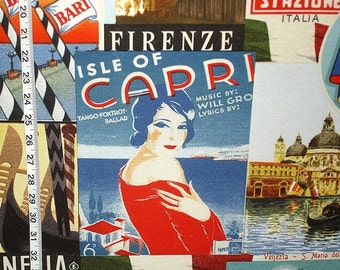 Vintage Italian travel poster fabric retro avant garde Capri Italy Venice interior home decorating material 1 yard