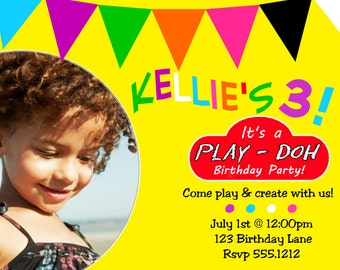 Play Doh Invitation - Play - Doh Inspired Invitation - Play Dough - Birthday - Invite