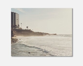 La Jolla photo, beach decor, San Diego photography, lifeguard tower print, canvas wall art, beach canvas wrap, white neutral, coastal