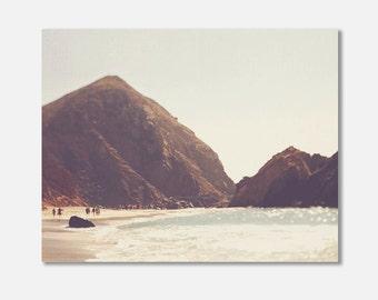 Big Sur photo canvas wrap, gallery wrap, California coast beach photography, landscape photograph, dreamy surreal, earth tones, brown tan