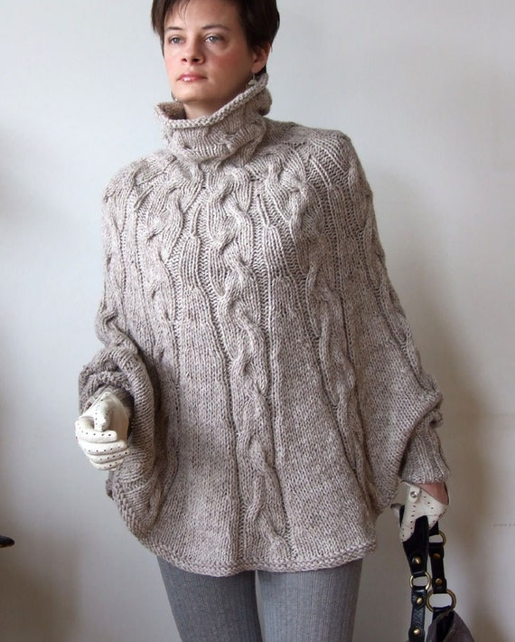 Poncho Jacket Knitting Pattern : Hand knitted poncho braided cape sweater coffee beige cabled
