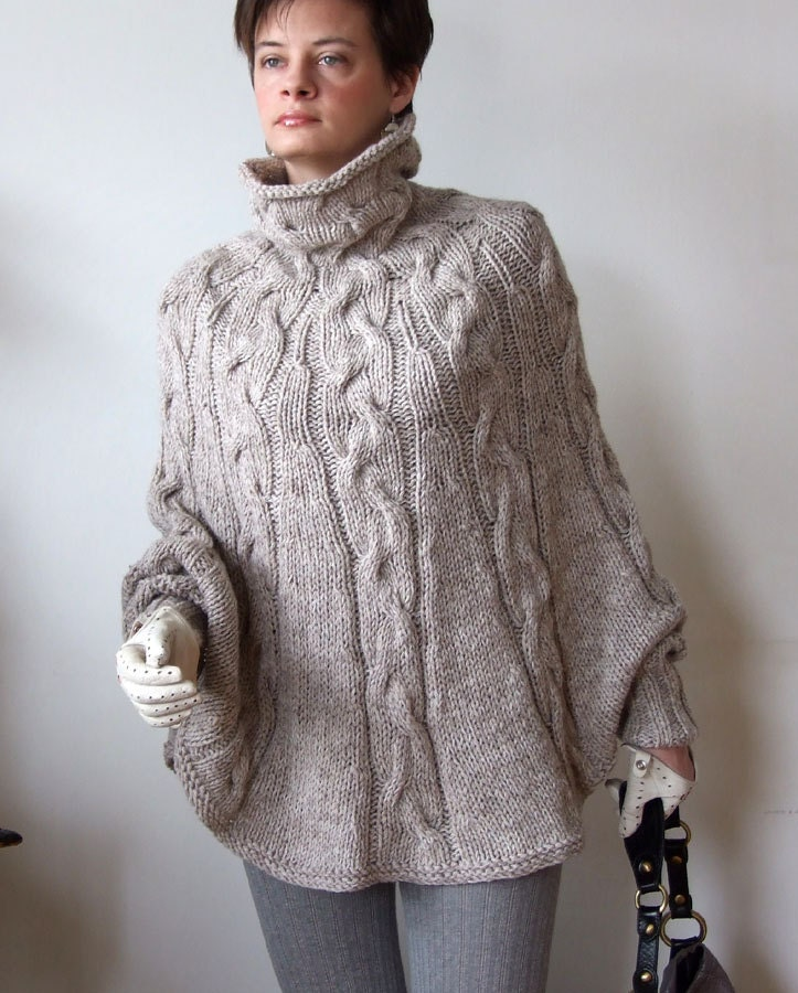 Knitting Pattern Poncho Sweater : Hand knitted poncho braided cape sweater coffee beige cabled
