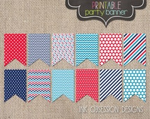 4th of July Printable Party Banner Red Blue Stars Stripes Polka Dots & Chevron Fourth of July Holiday Bunting