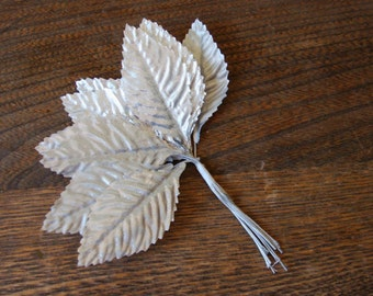 Silver leaves picks millinery floral craft supplies silver wedding supplies picks metalic silver DIY wedding crafts supplies trims