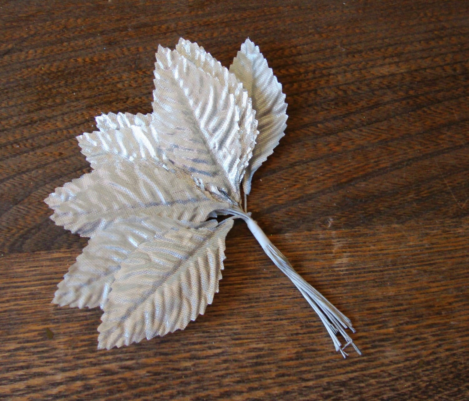 Silver leaves picks millinery floral craft supplies silver for Wedding craft supplies