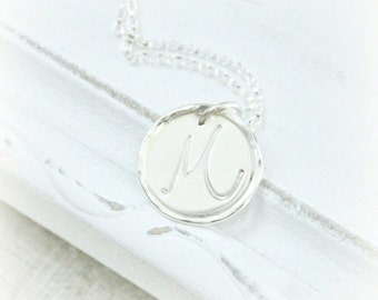 Initial Necklace, Personalized Necklace, Hand Stamped Necklace, Letter Necklace, Monogram Necklace