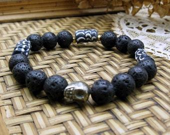 Pyrite Skull Black Lava Stone Tribal Beaded Bracelet, Ethnic Stretch Bracelet, Unisex, Day of the Dead, For Her, Under 50