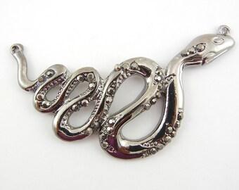 Double Link Hematite-tone Curled Snake with Rhinestone