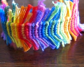 Rainbow Fringe Friendship Bracelet, adjustable bracelet, friendship anklet, lgbt jewelry, boho style, hippie bracelet rainbow string knotted