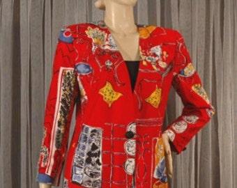 Vintage 80s Whimsical Print Rayon Jacket Size 9 b40