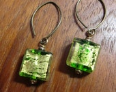 PERIDOT: Murano Glass Square Earrings