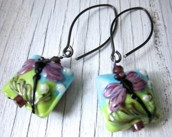 DRAGONFLY Glass Lampwork Earrings