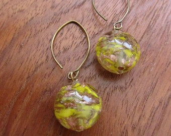 YELLOW COPPER: Murano Glass Earrings, 24kt Gold Foil, Puffy Disc
