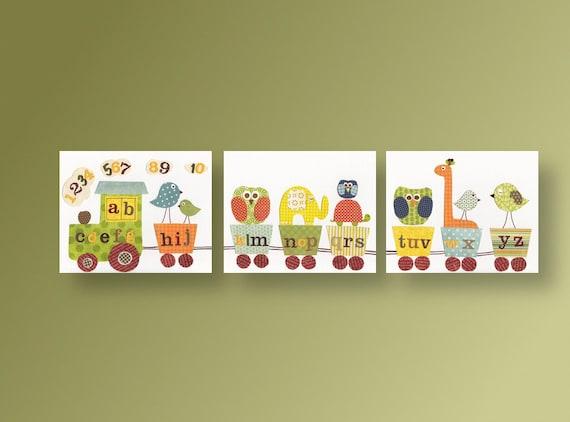 Alphabet train Nursery Zoo Nursery Art boy nursery decor - elephant owl giraffe bird - Kids playroom art - Set of 3 Prints - Anais Fun Train