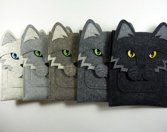 Cat case for Kindle, Paperwhite, Voyage and Oasis // Felt e-reader case // Cat shoulder bag