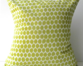 New 18x18 inch Designer Handmade Pillow Case. citrine on cream ikat dots.
