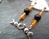Sterling Silver with Genuine Amber and Jet with the Triplemoon charm Earrings