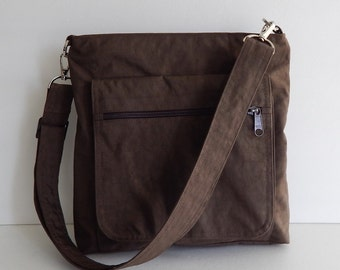 Sale - Chocolate Brown Water Resistant Nylon Messenger Bag - Shoulder bag, Purse, Cross body, Tote, Hip bag, Travel bag, Women - Judith
