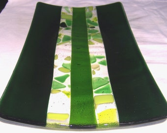 "DEEPEST DAINTREE; Dark green glass; 14x7"" or 35cm x 20cms; handcrafted one at a time; loving greens; green glass;"