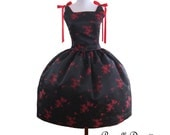 Mad men inspired Rockabilly Retro BallGown teaparty Satin brocade black red floral Dress Swing ballgown ribbons
