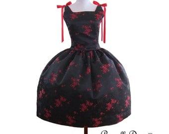summer sale Mad men Rockabilly Retro BallGown teaparty Satin brocade black red floral Dress Swing ballgown ribbons