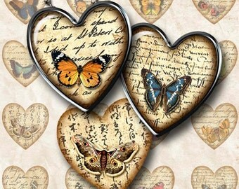 Digital Collage Sheet Hearts Butterflies and Handwriting Instant Download H102