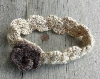 Crochet Headband with Crochet flower NEWBORN size
