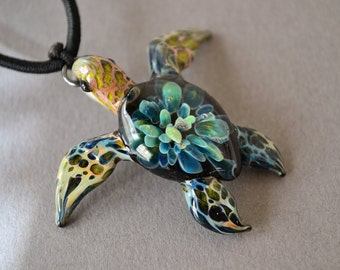 Turquoise Tide Pool Sea Turtle pendant Great Gift