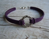 Good Karma Bracelet Damson Faux Suede - Friendship - Yoga  Jewelry - Peace Love Positive - Namaste - Other Colours Available