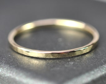 Skinny Hammered Gold Ring, 1mm Solid 14K Yellow Gold Band, Sea Babe Jewelry