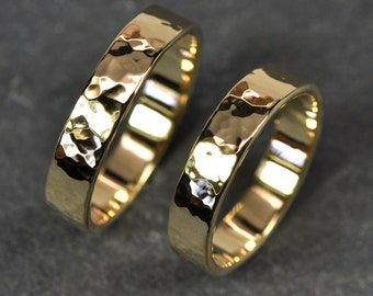 Wedding Ring Set, 18K Yellow Gold Ring Set, Wedding Bands, 5mm wide Hammered Bands, Set of Two, Sea Babe Jewelry