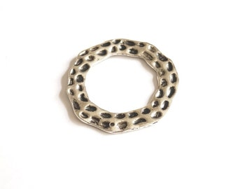 2pcs Matte Silver Plated Circle links, connectors, charms 46x46 mm (409-009SP)
