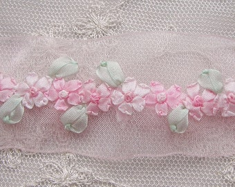 Hand Embroidered PINK Organza Ribbon Flower Trim Antique Vintage Baby Doll Christening Gown