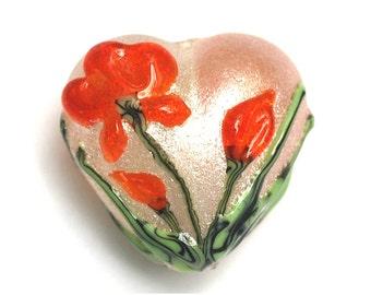 Vermilion Flower Heart Focal Bead - Handmade Lampwork Bead - 11832205