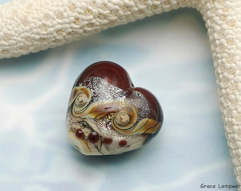 Dark Cherry Stardust Heart Focal Bead - Handmade Glass Lampwork Bead -11831305