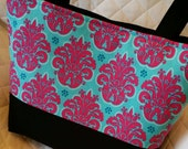 Purse Tote Diaper Bag Pink Aqua Damask with Solid Black Custom Made to Order Design Your Own Choose Your Size