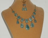 Aqua Colored Bib Style Dangling Necklace with FREE Matching Earrings