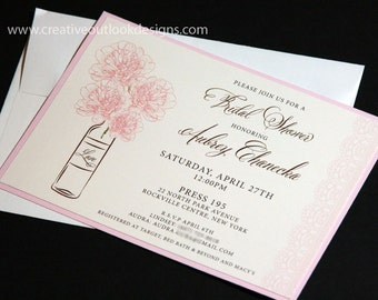 Vintage Lace & Peonies Flower Bridal Shower Invitation