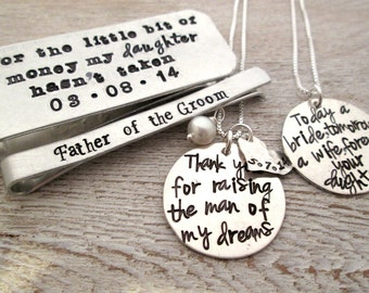 Personalized Gifts for Parents of the Bride and Groom  Wedding Thank you set- Personalized Thank You Gift - Hand Stamped