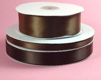 1/4 inch x 100 yds Single Face Satin Ribbon -- BROWN