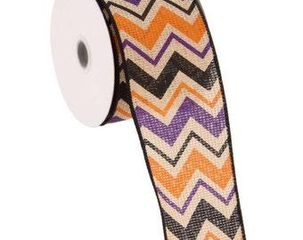 "Chevron Faux Burlap Wired Ribbon - Large Print - 2.5""x10 yards"