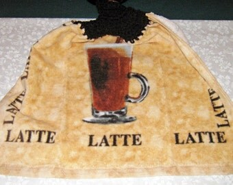 One Kitchen Crochet hanging towel, Latte Coffee, Brown Top