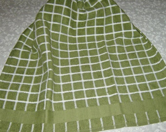 Crochet Kitchen Hanging Towel, green with white lines, Sage green top