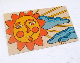 Sunshine Day Note Card, Sun, Clouds, Orange, Blue, 1969  (391-14)