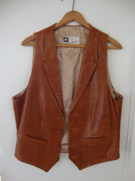 Vintage Leather Vest vintage vest Vintage Mens Vest brown leather vest satin lining Vintage brown vest Scully Leatherwear size 40 vest