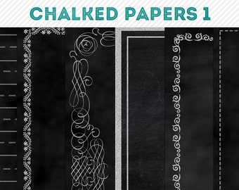chalked chalkboard digital background papers 1 - digital scrapbooking - automatic download